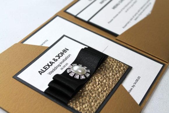 Gold and black pocketfold wedding invitation-scottish-wedding-stationery