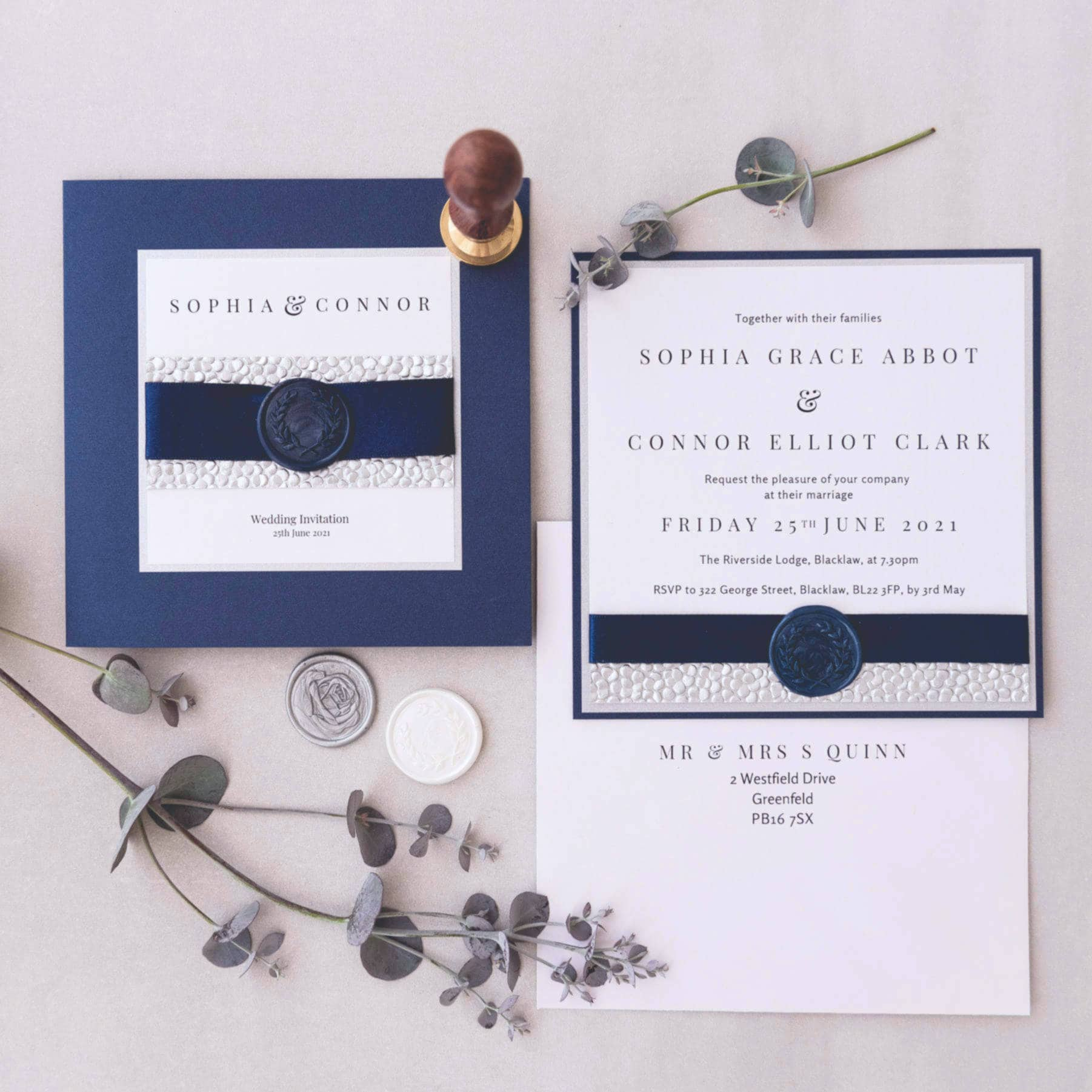 Handmade wax seal wedding invites Scotland