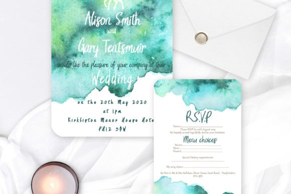gingerandspice-scottish-wedding-stationery-greens and blues watercolour invitation and rsvp with white stag cutout