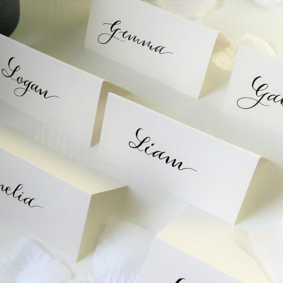 Juno-Calligraphy-Scottish-Wedding-Stationery-Black-on-white place-cards